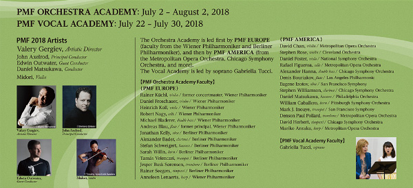 PMF ORCHESTRA ACADEMY:July 2 - August 2, 2018 PMF VOCAL ACADEMY:July 22 - July 30, 2018