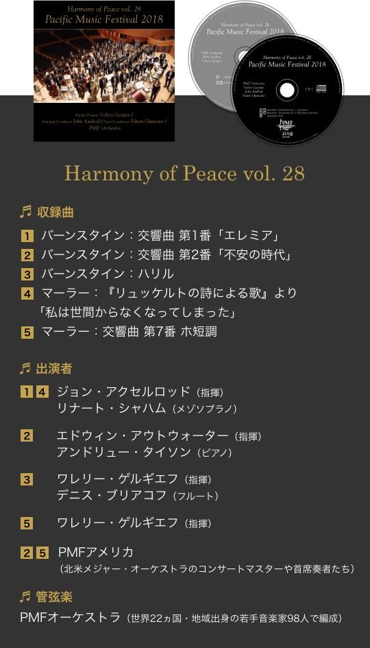 Harmony of Peace vol. 28/収録曲 1.バーンスタイン:交響曲 第1番「エレミア」 2.バーンスタイン:交響曲 第2番「不安の時代」 3.バーンスタイン:ハリル 4.マーラー:『リュッケルトの詩による歌』より「私は世間からなくなってしまった」 5.マーラー:交響曲 第7番 ホ短調/出演者 1.4.ジョン・アクセルロッド(指揮) リナート・シャハム(メゾソプラノ) 2.エドウィン・アウトウォーター(指揮) アンドリュー・タイソン(ピアノ) 3.ワレリー・ゲルギエフ(指揮) デニス・ブリアコフ(フルート) 5.ワレリー・ゲルギエフ(指揮) 2.5. PMFアメリカ(北米メジャー・オーケストラのコンサートマスターや首席奏者たち)/管弦楽 PMFオーケストラ(世界22ヵ国・地域出身の若手音楽家98人で編成)