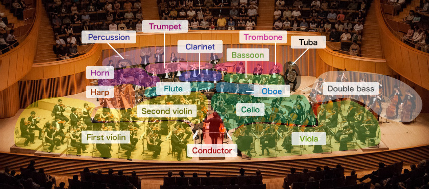 What kinds of instruments does an orchestra include?